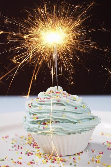 Single Cupcake with Lit Sparkler--Photo