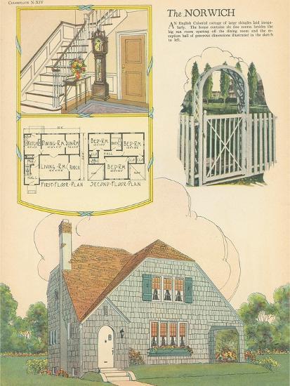 Single-Family Home, Rendering and Floor Plan--Art Print