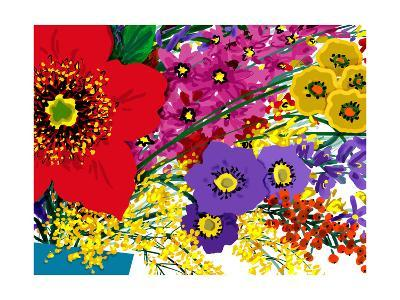 Single Large Red Flower with Pink, Yellow and Purple Flowers--Art Print