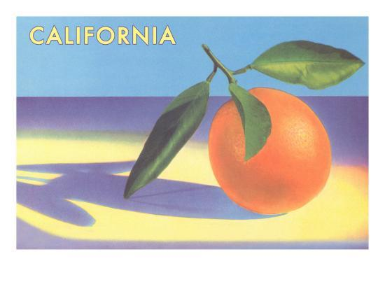 Single Orange with Blue Shadow, Calfornia--Art Print