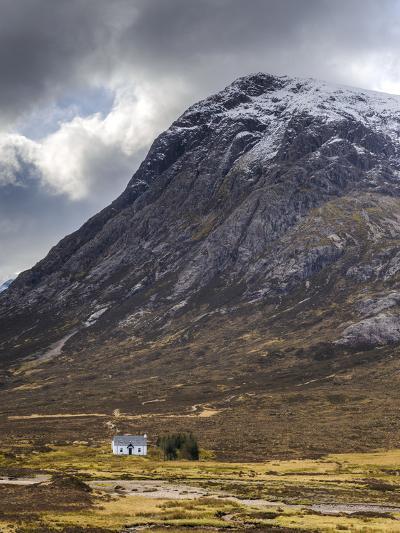 Single Small Cottage and Buachaille Etive Mor, Rannoch Moor, Glencoe, Highland Region, Scotland-Chris Hepburn-Photographic Print