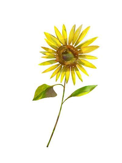 Single Stylized Sunflower--Art Print
