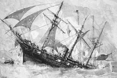 "Sinking of the ""Alabama"", 19 June 1864, Engraved by Schultz-Julian Oliver Davidson-Giclee Print"