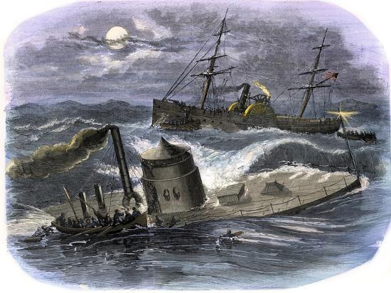 Sinking of the Ironclad USS Monitor in a Gale Off North Carolina, c.1862--Giclee Print
