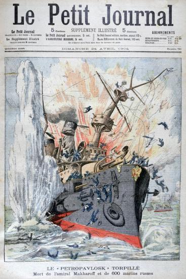 Sinking of the Russian Battleship 'Petropavlosk, Russo-Japanese War, 13th April 1904--Giclee Print