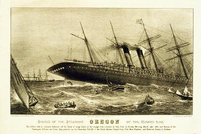 Sinking of the Steamship Oregon of the Cunard Line, Pub. C.1886--Giclee Print