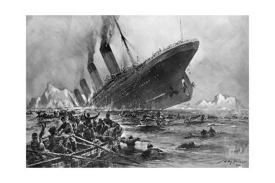 Sinking of the Titanic-Willy Stoewer-Giclee Print