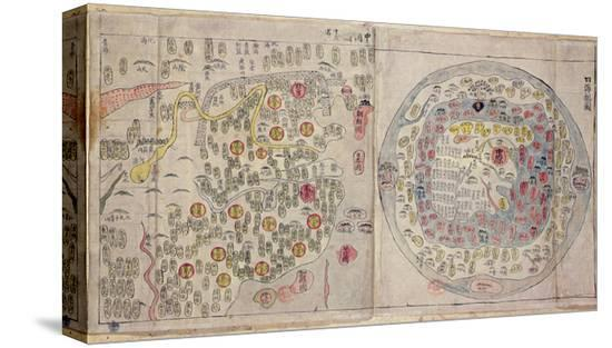 Sino Korean World Map, c.1800 Stretched Canvas Print by Korean ...