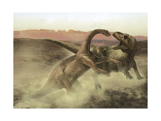 Sinraptor Fighting a Juvenile Bellusaurus-Stocktrek Images-Art Print
