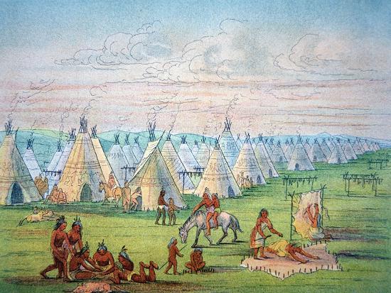 Sioux Camp Scene, 1841-George Catlin-Giclee Print