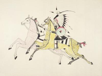 Sioux Warrior Armed with Sabre Attacking a Crow Indian-Kills Two-Giclee Print
