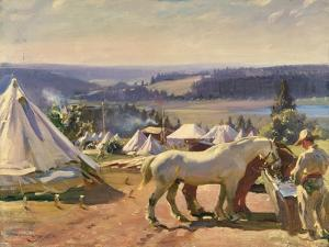 Camp at Malbuison, Near Pontarlier, c.1918 by Sir Alfred Munnings