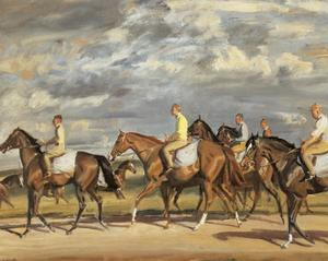 Exercising, Early Morning, Newmarket by Sir Alfred Munnings