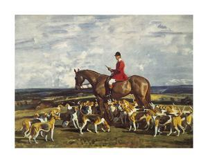 Stanley Barker and the Pytchley Hounds by Sir Alfred Munnings