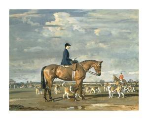 Sybil Harker on Saxa with the Norwich Staghounds by Sir Alfred Munnings