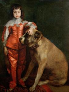 Full Length Portrait of Charles II as a Boy with a Mastiff by Sir Anthony Van Dyck