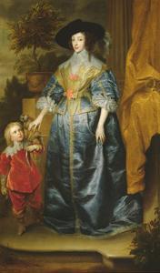 Queen Henrietta Maria and Her Dwarf Sir Jeffrey Hudson, circa 1633 by Sir Anthony Van Dyck