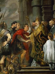 Saint Ambrose and Emperor Theodosius by Sir Anthony Van Dyck