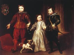 Three Children with Dog by Sir Anthony Van Dyck
