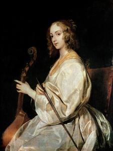 Young Woman Playing a Viola Da Gamba by Sir Anthony Van Dyck