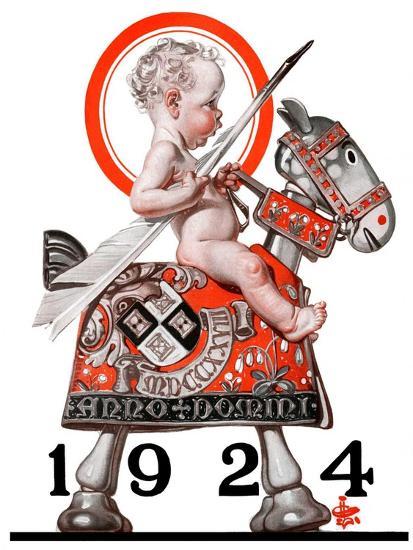 """Sir Baby New Year,""December 29, 1923-Joseph Christian Leyendecker-Giclee Print"