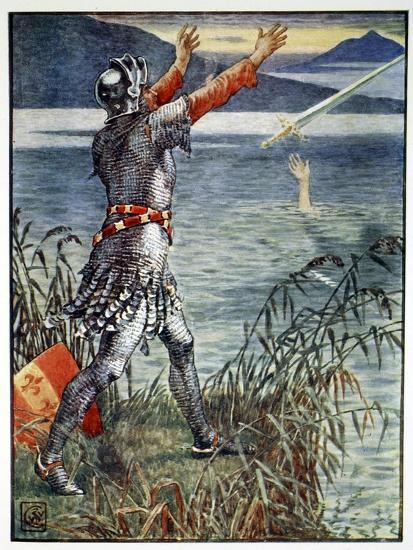 'Sir Bedivere casts the sword Excalibur into the Lake', 1911-Unknown-Giclee Print