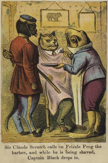 Sir Claude Scratch Calls on Frizzle Frog the Barber--Giclee Print