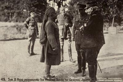 Sir Douglas Haig Introducing Sir Pertab Singh to General Joffre, World War I--Photographic Print