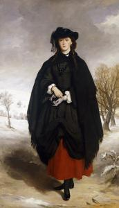 Portrait of Daisy Grant, the Artist's Daughter, Wearing a Black Dress, Red Petticoat, Black Shawl by Sir Francis Grant