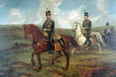 The Prince of Wales (1841-1910) with Lieutenant Colonel Valentine Baker Reviewing the 10th Hussars