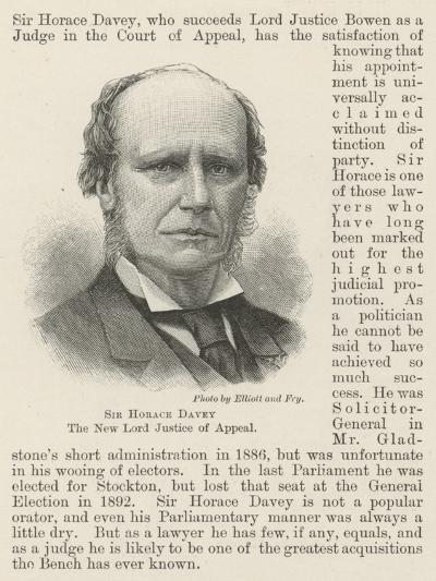 Sir Horace Davey, the New Lord Justice of Appeal--Giclee Print