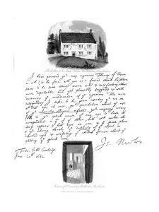 A Letter from Isaac Newton, and a View of His Birthplace at Woolsthorpe, Lincolnshire, 1682 by Sir Isaac Newton