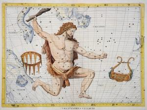 Constellation of Hercules with Corona and Lyra, Plate 21 from Atlas Coelestis, by John Flamsteed by Sir James Thornhill