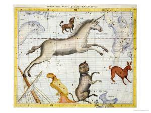 """Constellation of Monoceros with Canis Major and Minor, Plate 13 from """"Atlas Coelestis"""" by Sir James Thornhill"""
