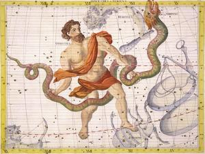 """Constellation of Ophiucus and Serpens, Plate 22 from """"Atlas Coelestis"""" by Sir James Thornhill"""