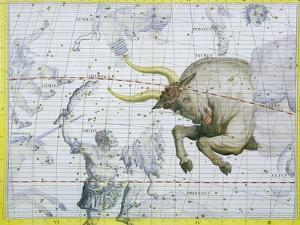 """Constellation of Taurus, Plate 2 from """"Atlas Coelestis,"""" by John Flamsteed, Published in 1729 by Sir James Thornhill"""
