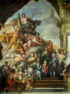 Rear Wall Painting of the Upper Hall Glorifying George I (1660-1727) and the House of Hanover,… by Sir James Thornhill