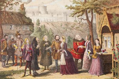 Sir John Falstaff on a Visit to His Friend Page at Windsor, Illustration from the Merry Wives of…-George Cruikshank-Giclee Print