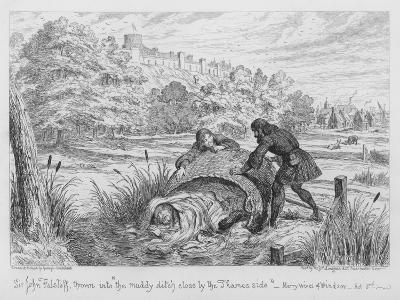 Sir John Falstaff Thrown into The Muddy Ditch Close by the Thames Side-George Cruikshank-Giclee Print