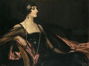 A Lady in Black: Portrait of Jean Ainsworth, Viscountess Massereene and Ferrard, 1917 by Sir John Lavery