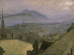 A View of Edinburgh from the Castle Looking Across the Esplanade Towards Arthur's Seat by Sir John Lavery
