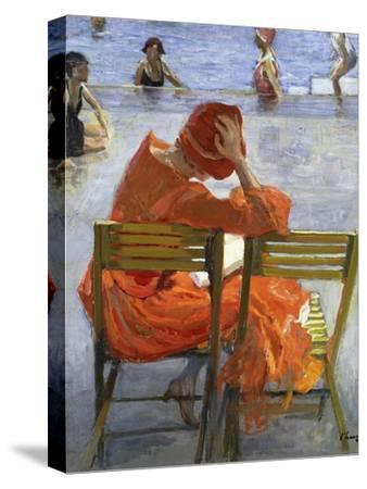 Girl in a Red Dress, Seated by a Swimming Pool, 1936