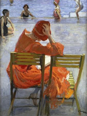 Girl in a Red Dress, Seated by a Swimming Pool