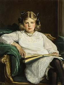 Portrait of Betty, Three-Quarter Length Seated, Reading a Book, 1915 by Sir John Lavery