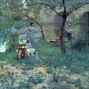 Under the Cherry Tree, the Bridge at Grez, 1884 by Sir John Lavery