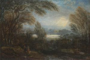 A View across the Thames from Richmond Hill, with Travellers on a Path by Sir Joshua Reynolds