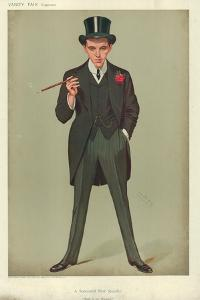 Mr F E Smith, a Successful First Speech, Moab Is My Washpot, 16 January 1907, Vanity Fair Cartoon by Sir Leslie Ward