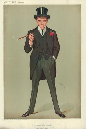 Mr F E Smith, a Successful First Speech, Moab Is My Washpot, 16 January 1907, Vanity Fair Cartoon