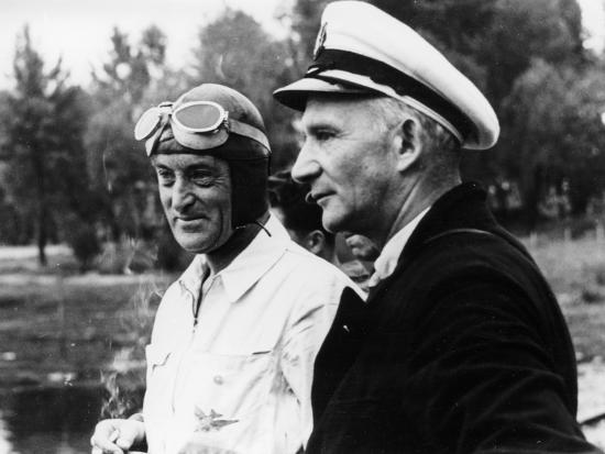 Sir Malcolm Campbell, on the Left, Possibly at Coniston, 1939--Photographic Print