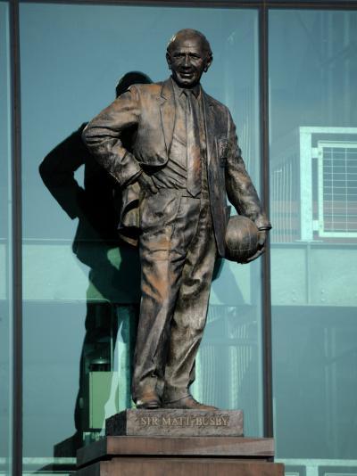 Sir Matt Busby Statue, Manchester United Football Club Stadium, Old Trafford, Manchester, England-Richardson Peter-Photographic Print